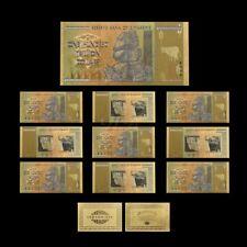 10 Pieces Zimbabwe 100 Trillion Gold Coloured Banknotes w Certificate (ZMC10COA)