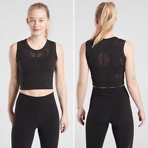 NWT Athleta Ujjayi Crop Tank S/M SMALL MEDIUM Black Fitted Seamless Yoga Top
