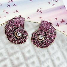 Statement Vintage Style Pink Crystal Sea Shell Cocktail Gold Stud Earrings
