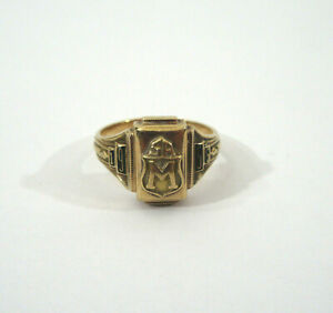 Vtg 1955 Dieges Clust 10K Yellow Gold SA M Class Ring (All Solid Gold, No Gems)