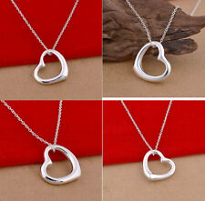 Ladies Womens 925Sterling Silver Floating Heart Pendant Necklace Accessories New