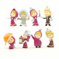 8 Pcs Masha and The Bear Action Figures Set Party Toys Dolls Gift Cake Toppers