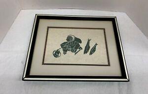 Vintage Agnes Nanogak Inuit Northwest Canada Native Woodcut Stone Print FRAMED