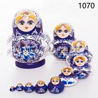 Russian Nesting Dolls 10pcs Wooden Hand Painted Gift Babushka Matryoshka set Toy