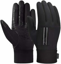 Touch Screen Gloves for Men Cycling with Zip Pocket Warm Winter Thermal BLACK L