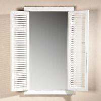 72CM Wandspiegel mit Fensterladen + Ablage im Shabby Chic weiß Holz Spiegel