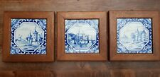 3 ANTIQUE FRAMED DUTCH DELFT BLUE WHITE TILES HOLLAND SCENE
