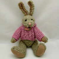 """Plush Bunny Rabbit Boyd's Collection 10"""" 1990 Pink Wool Sweater Rose, Jointed"""