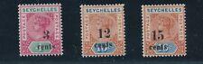 "1893 Seychelles ""QUEEN VICTORIA"" OVERPRINTS #22 - #24; MH  - CAT VALUE $50"