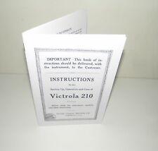 Victor Victrola 210 Gramophone Phonograph  Instruction Manual Reproduction