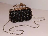 SKULL & CRYSTAL Evening Small Black LEATHER & Gold COCKTAIL CLUTCH LADIES PURSE