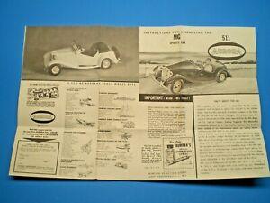 Aurora 1961 MG Sports Car # 511 Original Model Car Instruction sheet L@@K!