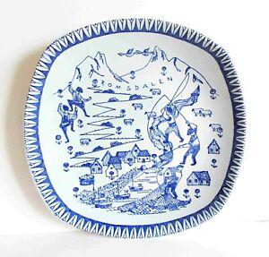 "Stavangerflint Blue on Gray 8"" Plate Romsdalen by Kari Nordquist 1950s FREE SH"