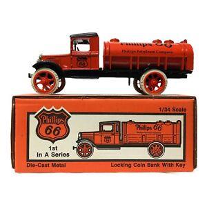 ERTL Toy Truck Phillips 66 Petroleum 1931 Hawkeye Tanker Coin Bank 1/34