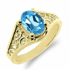 Topaz Solitaire Yellow Gold 14k Fine Rings
