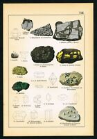 1888 Uraninite, Carnotite, Rocks, Minerals, Antique Geology Print - Schubert