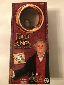 LORD OF THE RINGS THE TWO TOWERS 12-INCH BILBO BAGGINS DOLL FIGURE 2002 MINT