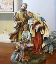 Holy Family Statue St. Joseph Carpenter Shop Bread in Bowl Jesus Mary 10 inch DS