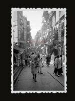 1950s STREET MARKET SHOP SIGN YOUNG GIRL WOMEN ADS Vintage Hong Kong Photo #1144