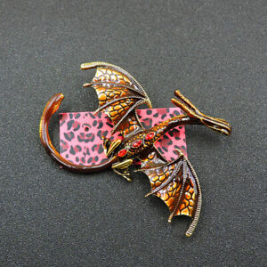 Fashion Betsey Johnson Brown Enamel Crystal Charm Pterosaur Woman Brooch Pin