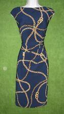 LRL Ralph Lauren Blue Gold Chain Stretch Jersey Social Work Dress 8 $134