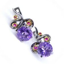 Art Handmade Silver 925 earrings with Amethyst and Ruby