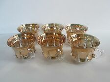6 Pcs Mid Century Glass Small Tea Cups Clear/Gold    GC