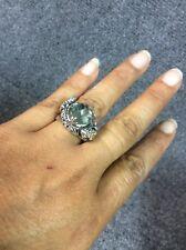 Beautiful sterling Silver 925 18k prasiolite frog toad ring size 9