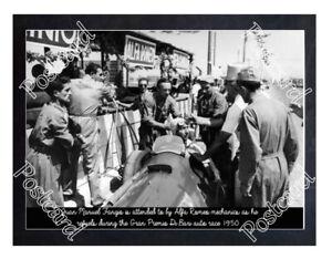 Historic Juan Manuel Fangio in his Alfa Romeo Gran Premio Di Bari 1950 Postcard