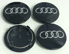 4 x 68mm ALLOY WHEEL CENTER HUB CAPS AUDI BLACK S3 S4 A3 A4 A6 A8 TT RS4 Q5 Q7