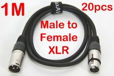 20x 1 Metre XLR QUALITY Male to Female M-F Microphone Mic Cable Lead Cord PA 1M