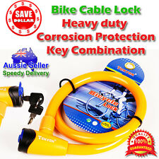 15mm THICK Motor Bike Bicycle Cable Lock Padlock Luggage with 2 Keys 15x 800mm