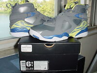 Girls Nike Air Jordan VIII 8 Retro GS Laney Cool Grey Volt Yellow v x 580528 038