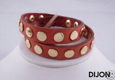 Linea Pelle Gold Flat Stud Double Wrap Bracelet DIJON