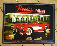 CORVETTE Rosie's Diner TIN SIGN chevrolet 50s vtg red convertible wall decor 897