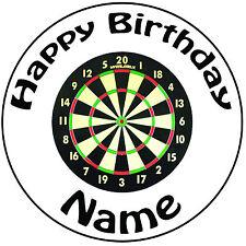 """Personalizzato Compleanno Freccette-Freccette ROUND 8"""" facile PRETAGLIATO GLASSA cake topper"""