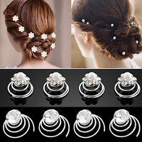 EG_ 12x Wedding Bridal Hair Pins Rhinestone Twists Coil Flower Swirl Spiral Hair