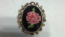 Vintage Goldtone Framed Black Pink Rose Needlepoint Embroidered Brooch Pendant