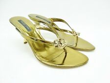 Sergio Rossi Bronze Jeweled Sandals Thong Heels Size 37.5