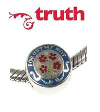 Genuine TRUTH PK 925 sterling silver FORGET ME NOT charm bead