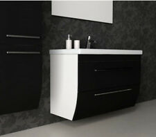 CG Bathroom Silk 800mm Black White Twin Drawer Vanity Basin Unit with-out Sink
