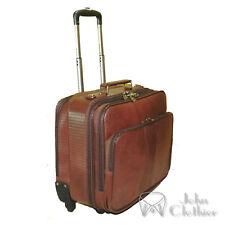 Genuine Leather trolley Overnight Weekender Luggage Laptop Cabin bag Spinner