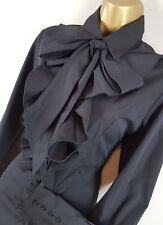 GOTHIC Black Cotton Ruffle Blouse UK 10 12 Vintage Victoriana Steampunk Mistress