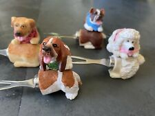 Vintage Poodle, Yellow Lab, Boxer & Basset Hound Dog Corn Cob Holders Set Of 12