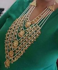 Indian Kundan Pearl Necklace Choker Earrings Set Bollywood Wedding Women Jewelry