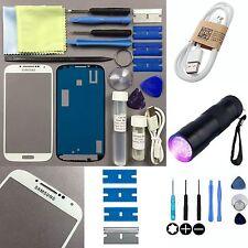 Samsung Galaxy S4 Lente de Cristal Frontal Pantalla Kit De Reparación De Repuesto Blanco + UV Antorcha