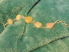 925 PLATED 'SUMMER FRUIT' YELLOW PEACH AND BLUSH PINK AGATE BRACELET