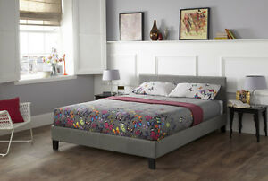 Elegant Fabric Bed Frame in  Stylish Colours LATTE, STEEL