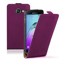 SLIM PURPLE Leather Flip Case Cover For Mobile Phone Samsung Galaxy A3 2016