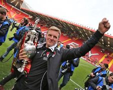 Bournemouth manager Eddie Howe with Championship Trophy 10x8 Photo